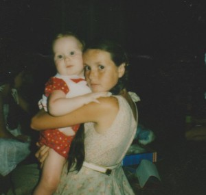 """1980: Me and my sister Louise, the actual """"laatlammetjie""""."""