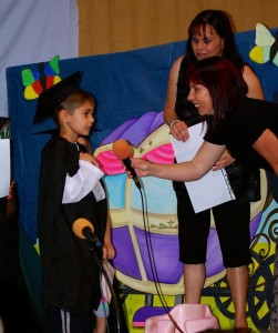 Gian at his Pre-school Graduation with Teacher Nikki and Principal Annelize